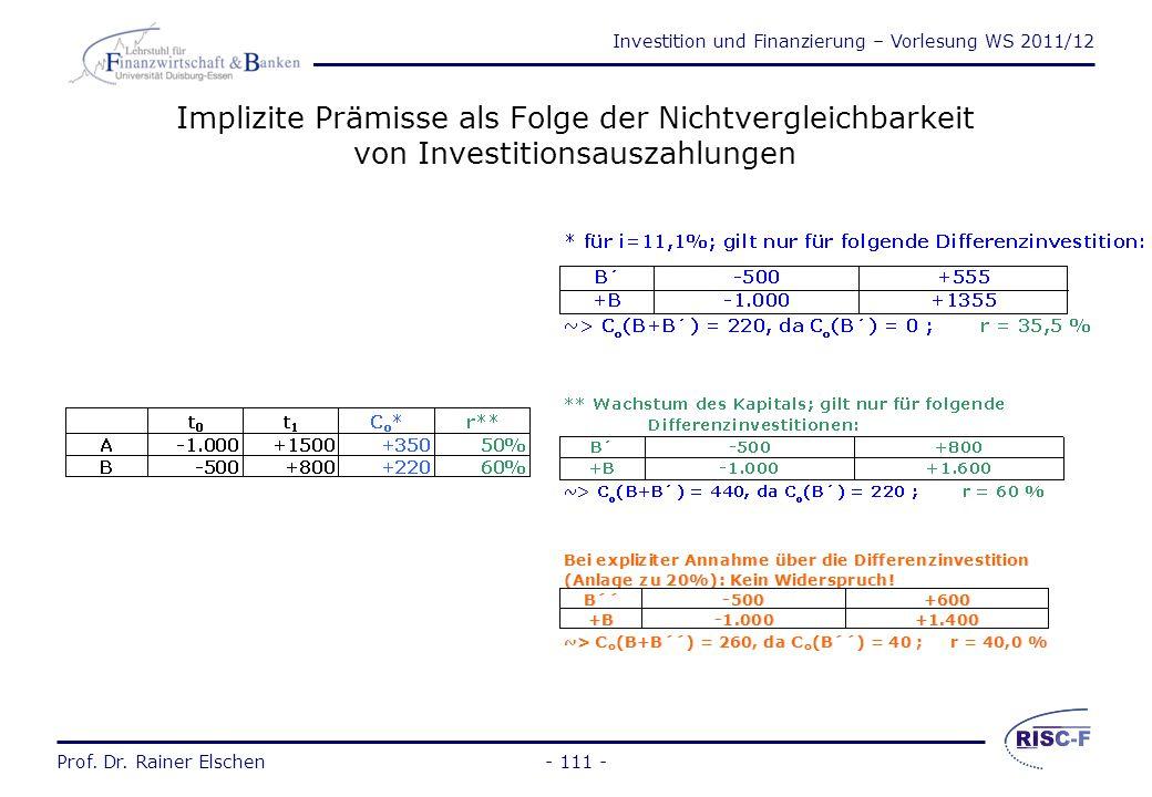 Implizite Prämisse als Folge der Nichtvergleichbarkeit von Investitionsauszahlungen