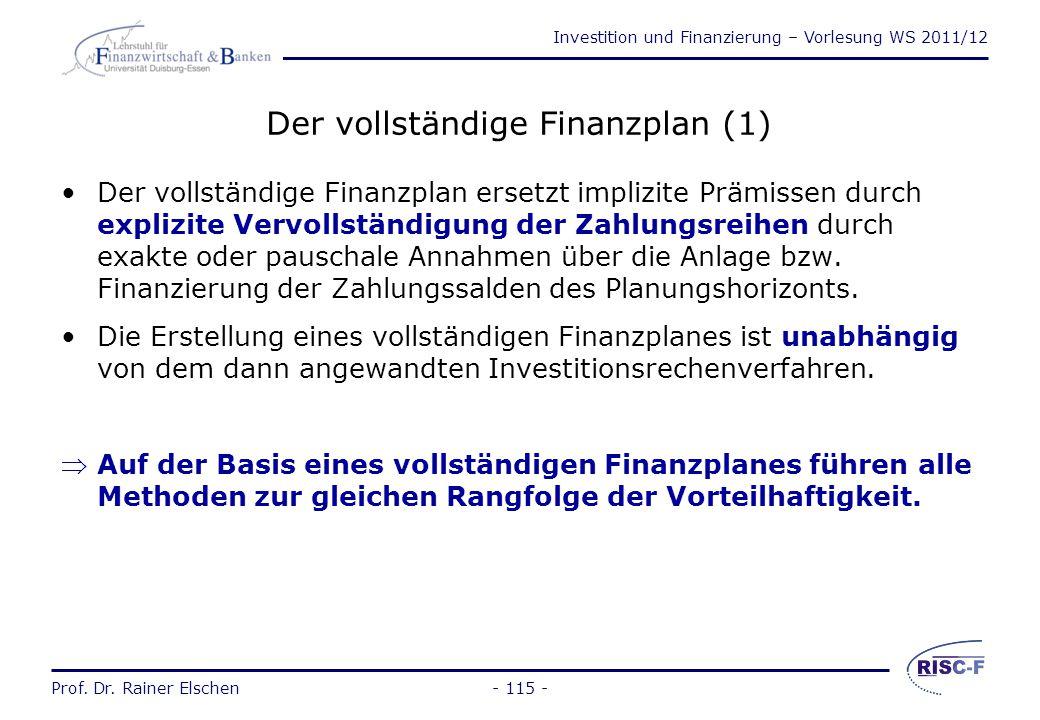 Der vollständige Finanzplan (1)
