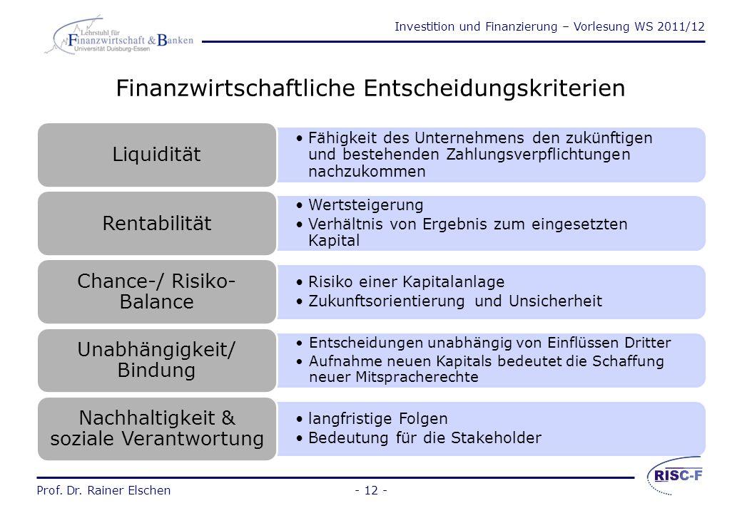 Finanzwirtschaftliche Entscheidungskriterien
