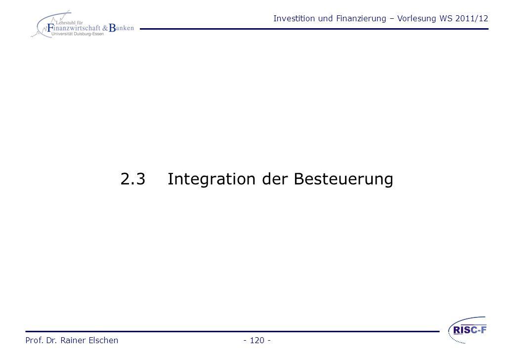 2.3 Integration der Besteuerung