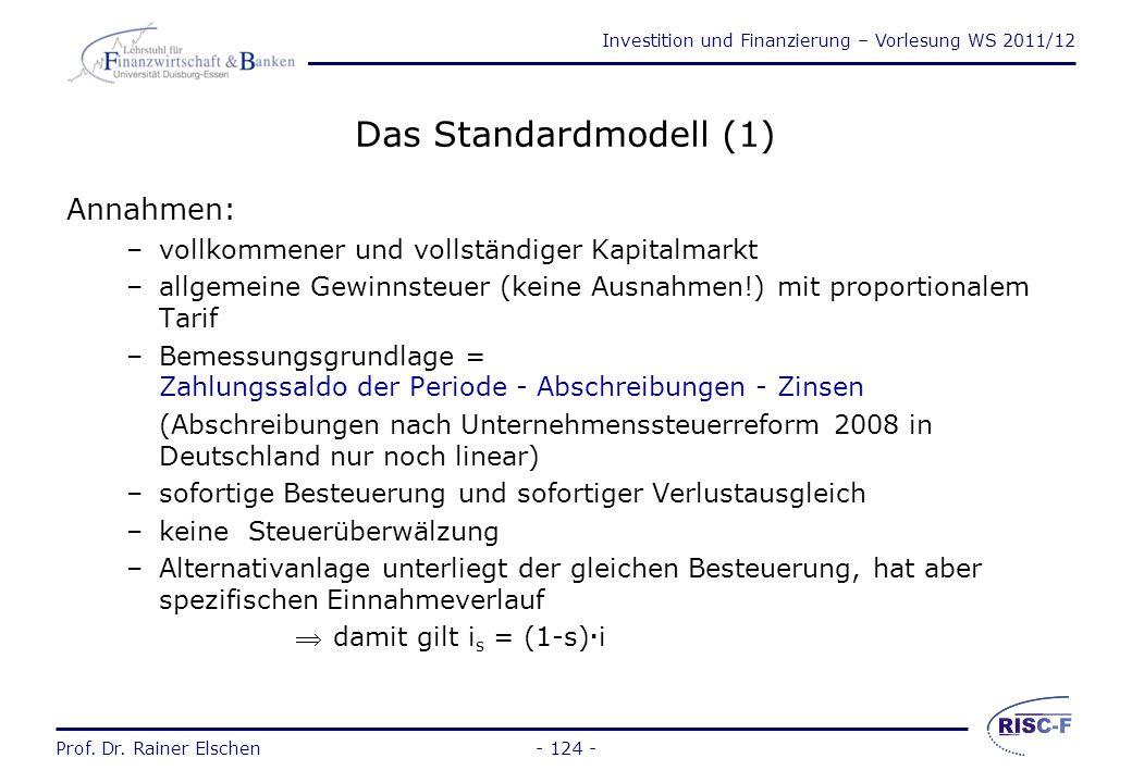 Das Standardmodell (1) Annahmen: