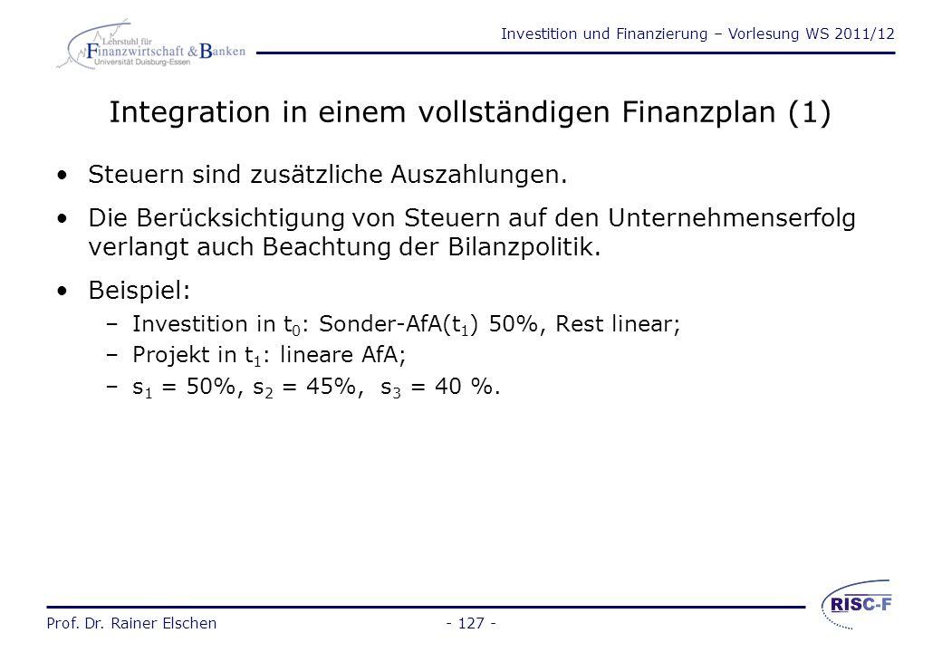 Integration in einem vollständigen Finanzplan (1)
