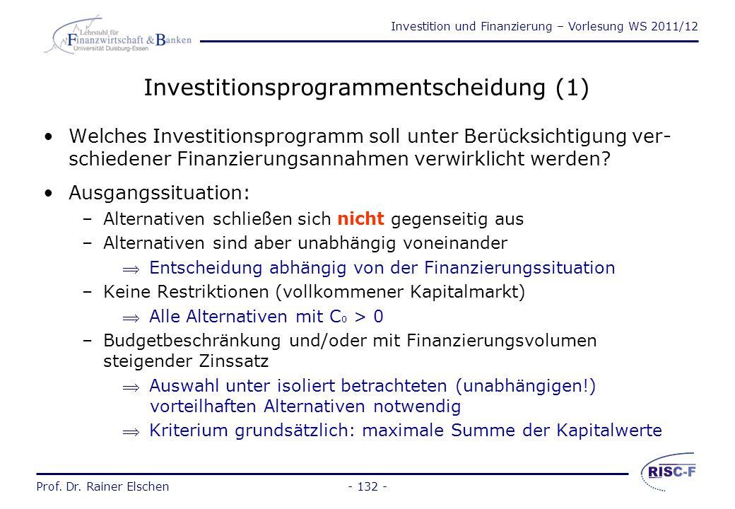 Investitionsprogrammentscheidung (1)