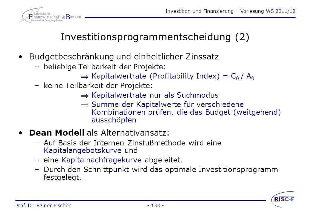 Investitionsprogrammentscheidung (2)