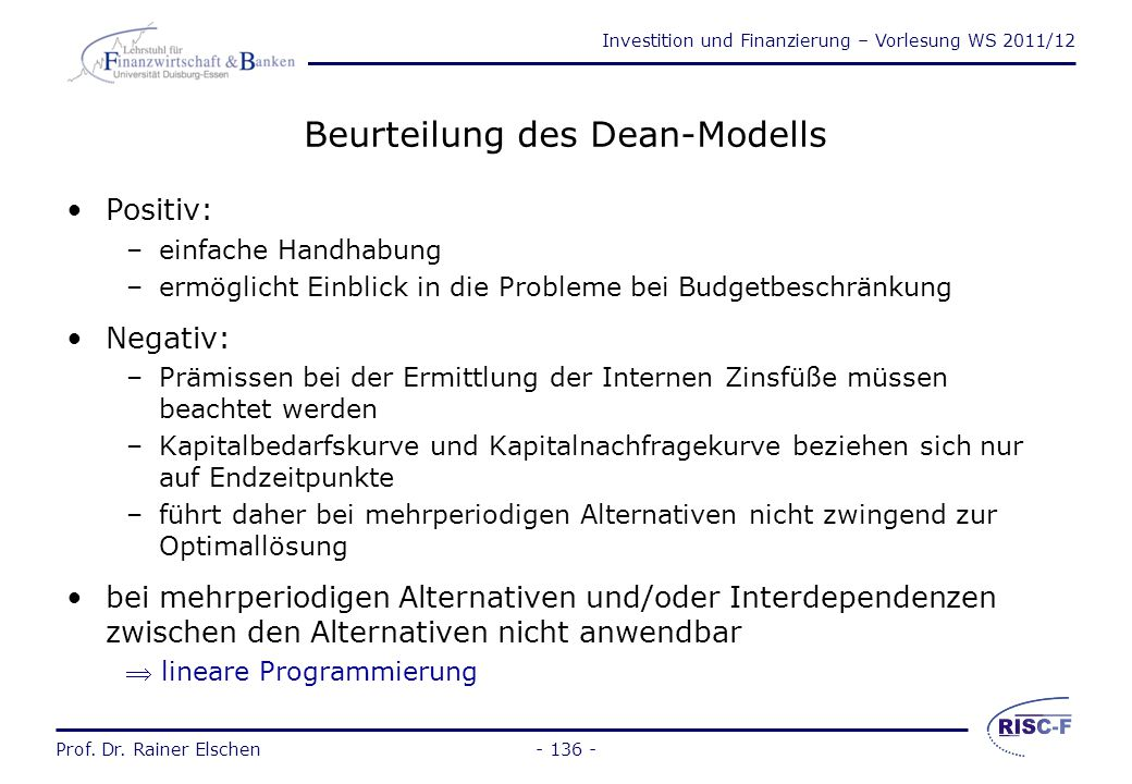 Beurteilung des Dean-Modells
