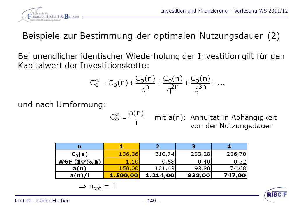 Beispiele zur Bestimmung der optimalen Nutzungsdauer (2)