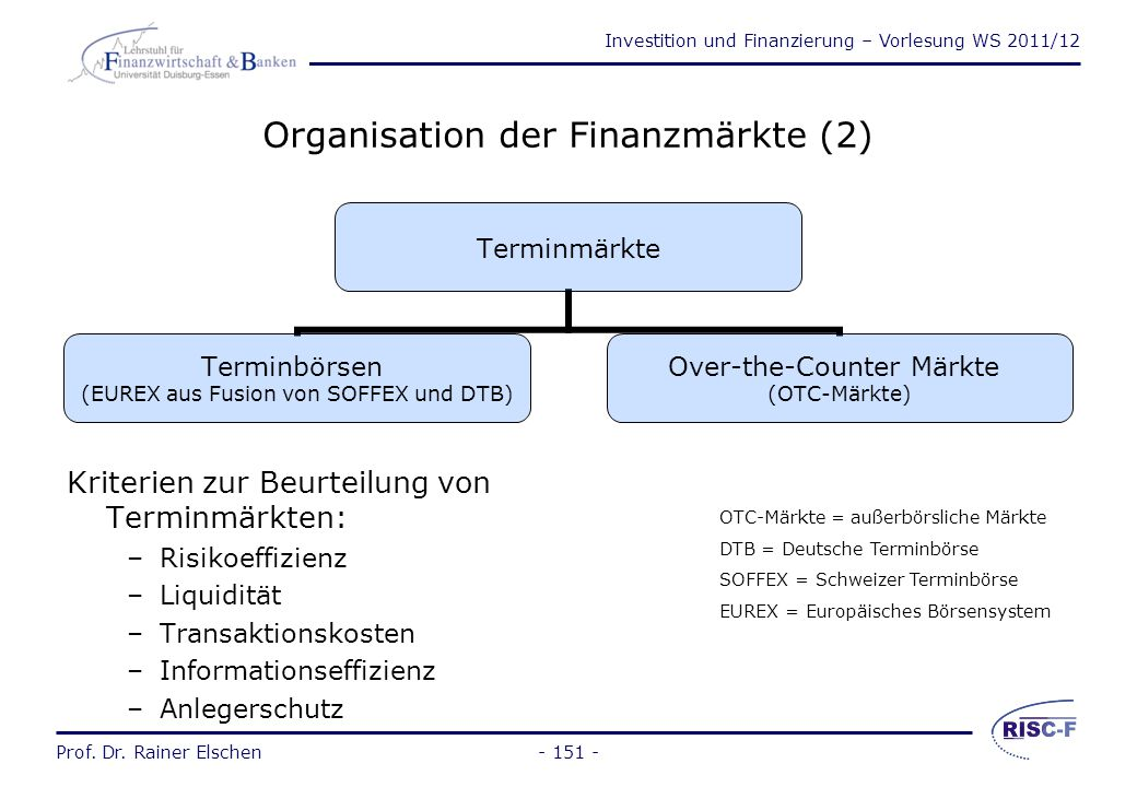 Organisation der Finanzmärkte (2)