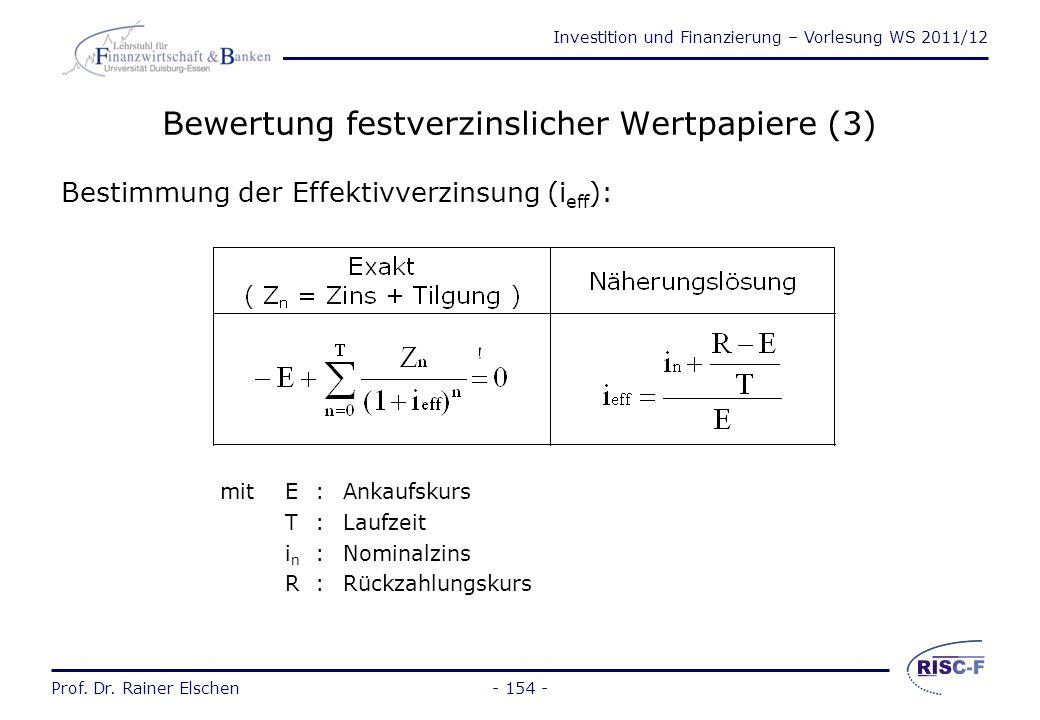 Bewertung festverzinslicher Wertpapiere (3)