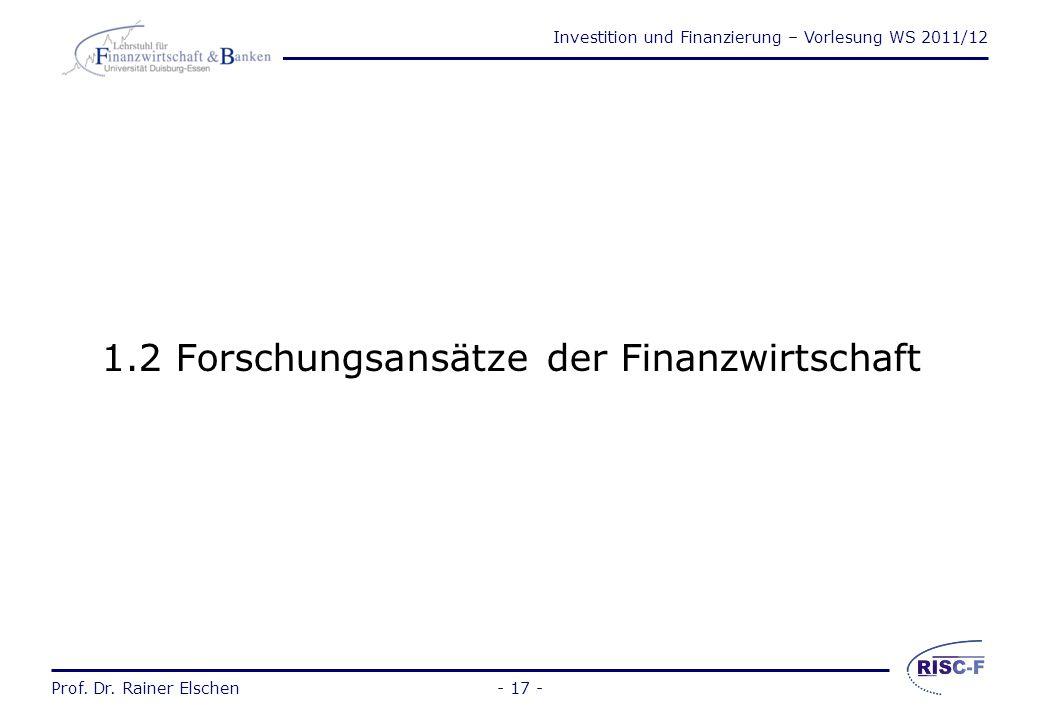 1.2 Forschungsansätze der Finanzwirtschaft