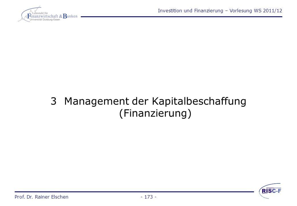 Management der Kapitalbeschaffung (Finanzierung)