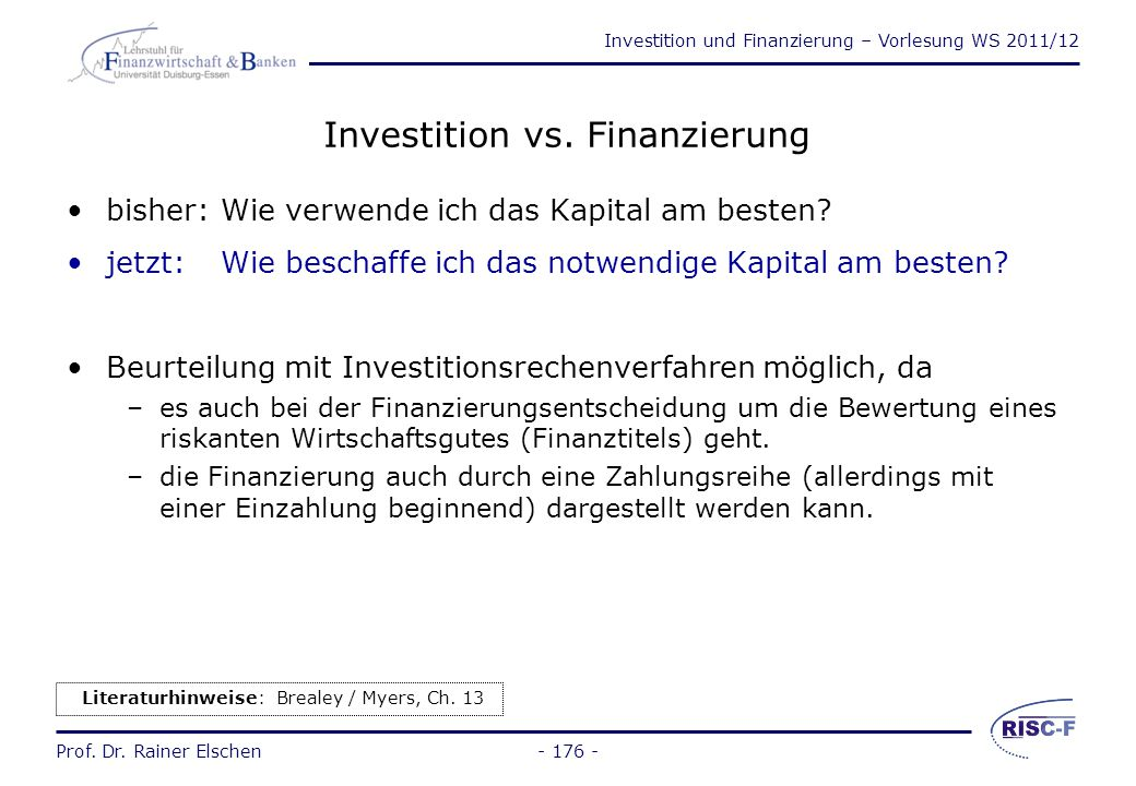 Investition vs. Finanzierung