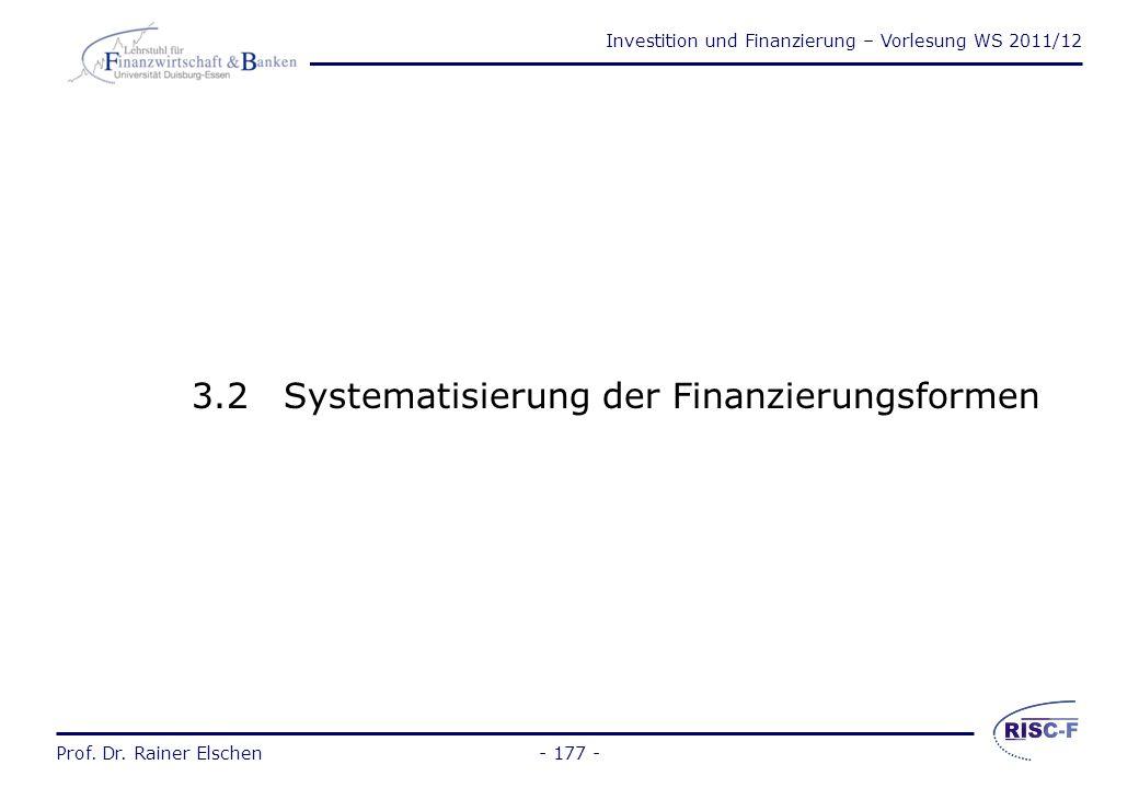 3.2 Systematisierung der Finanzierungsformen