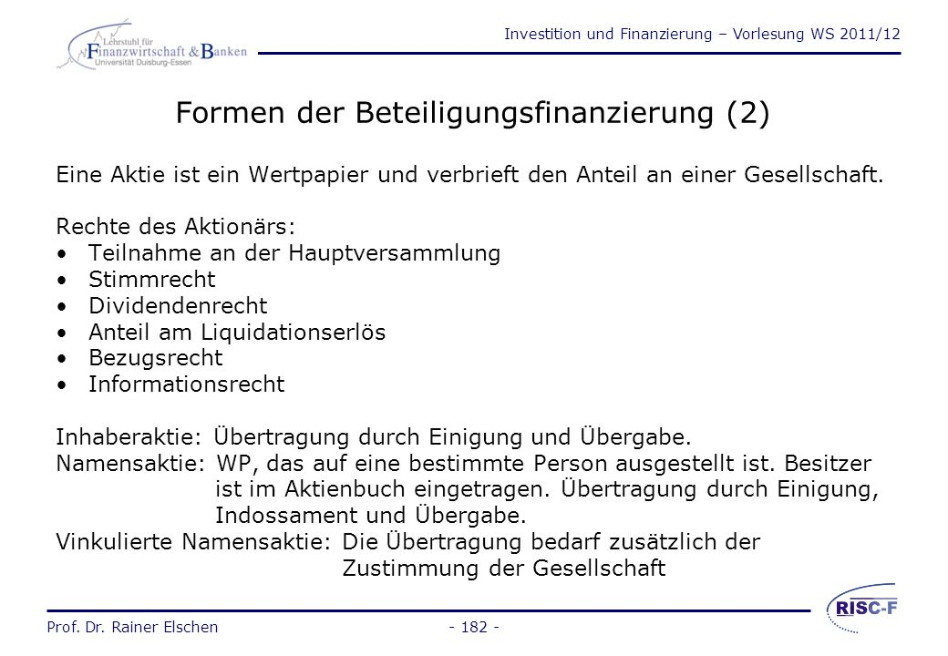 Formen der Beteiligungsfinanzierung (2)