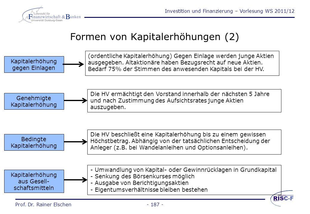 Formen von Kapitalerhöhungen (2)