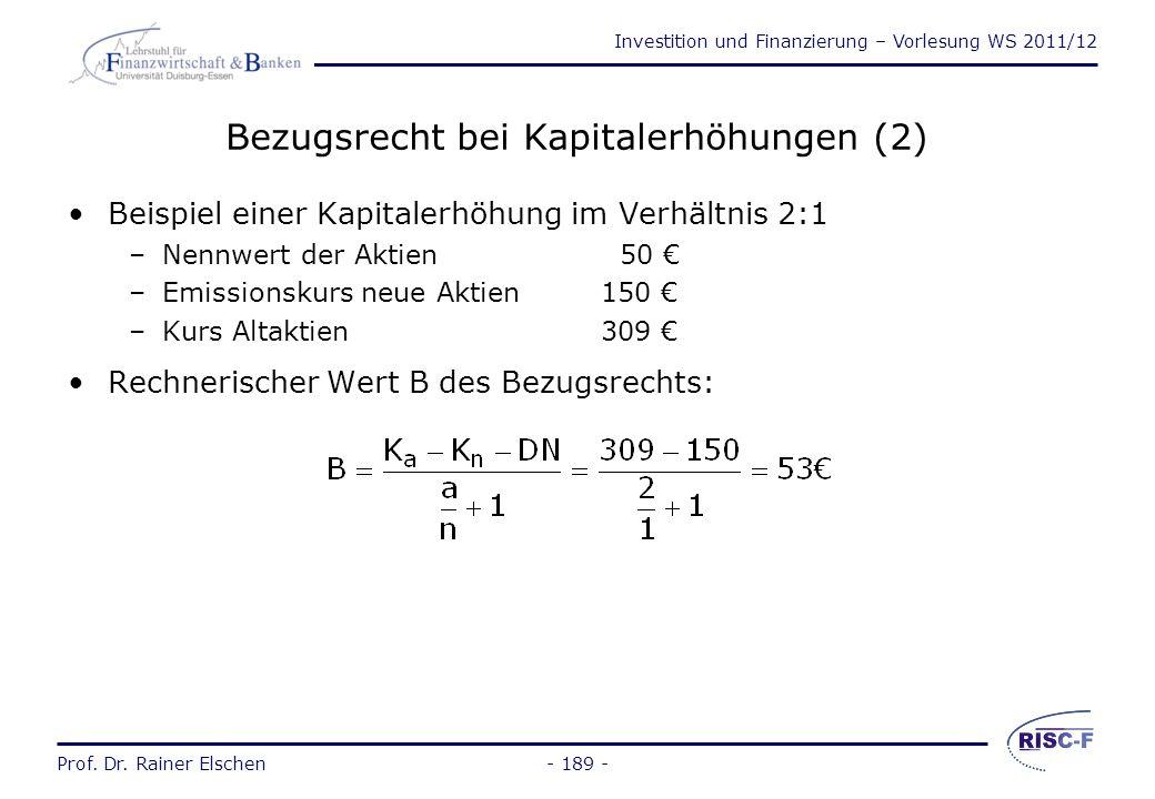Bezugsrecht bei Kapitalerhöhungen (2)