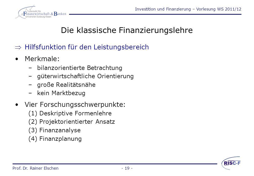Die klassische Finanzierungslehre