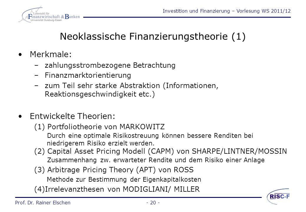 Neoklassische Finanzierungstheorie (1)