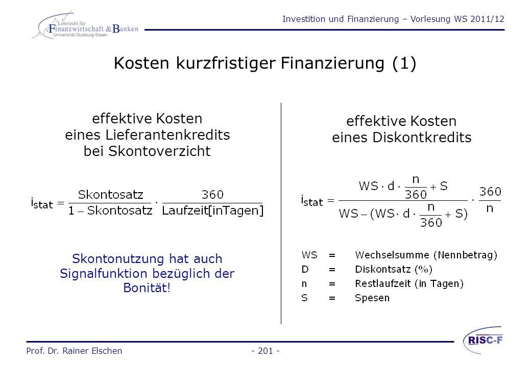 Kosten kurzfristiger Finanzierung (1)