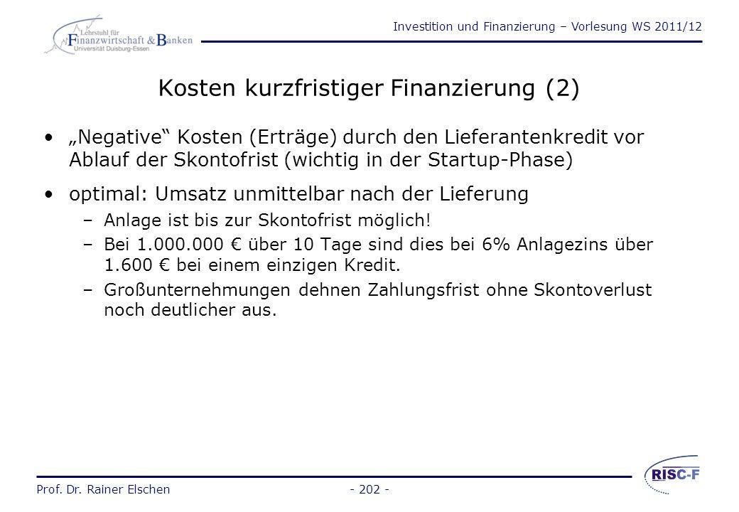 Kosten kurzfristiger Finanzierung (2)