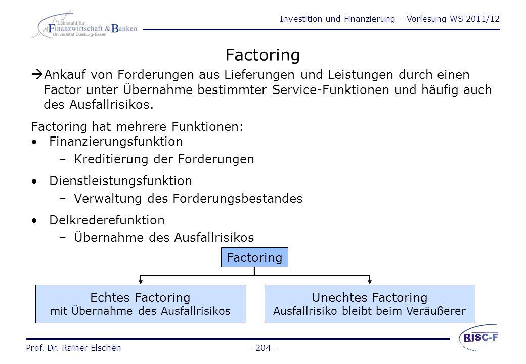 Factoring Ankauf von Forderungen aus Lieferungen und Leistungen durch einen. Factor unter Übernahme bestimmter Service-Funktionen und häufig auch.