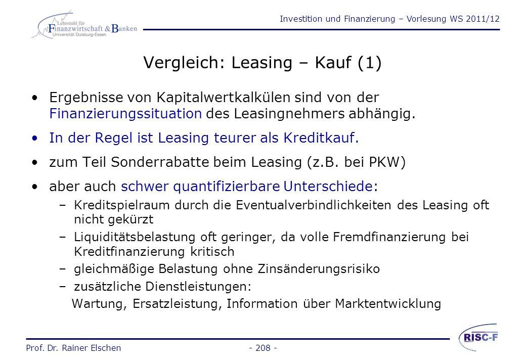 Vergleich: Leasing – Kauf (1)