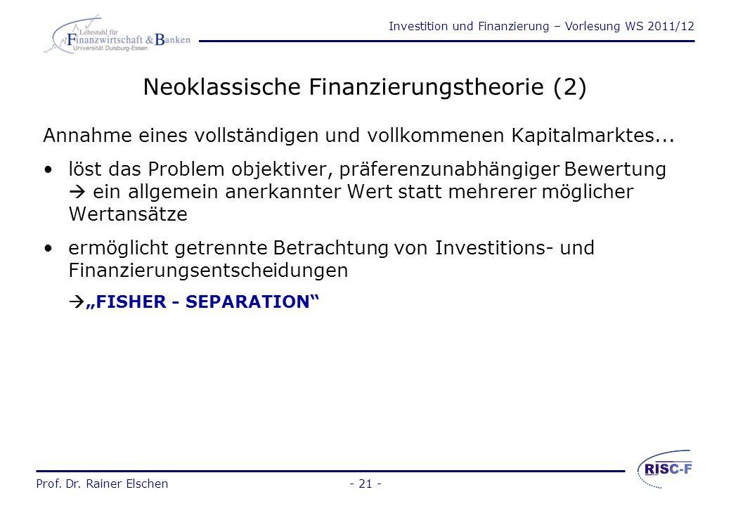 Neoklassische Finanzierungstheorie (2)