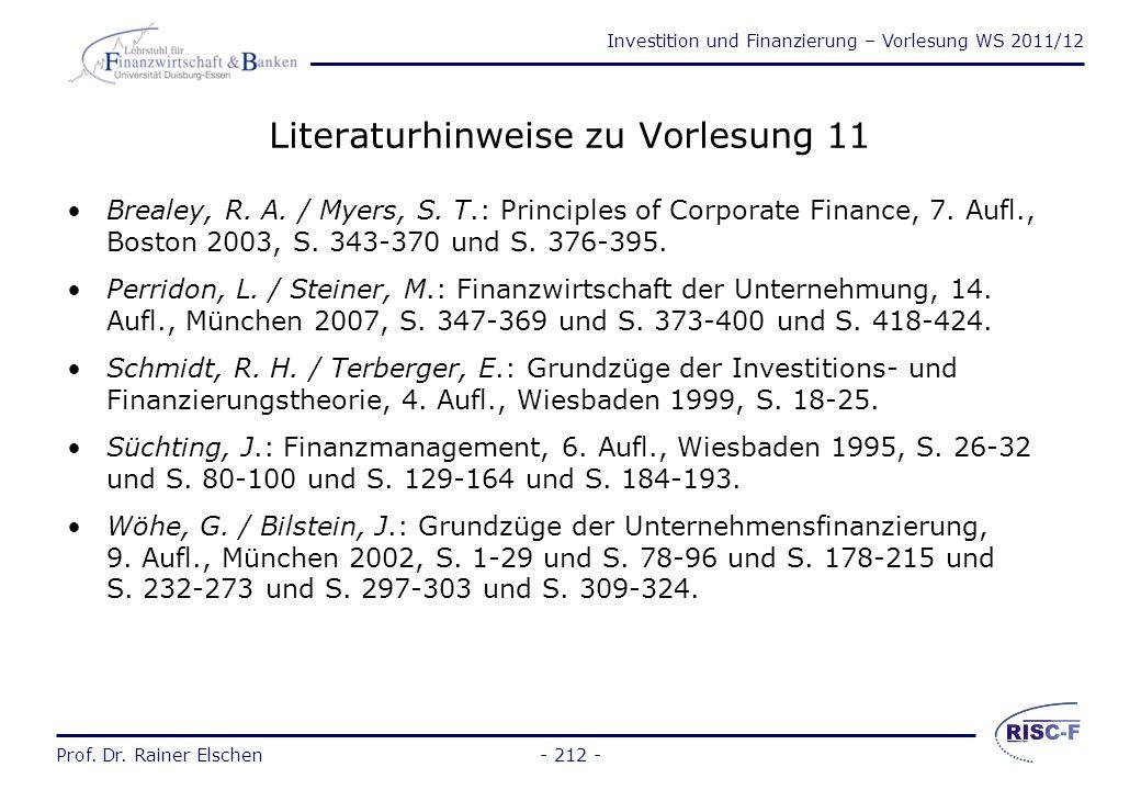 Literaturhinweise zu Vorlesung 11