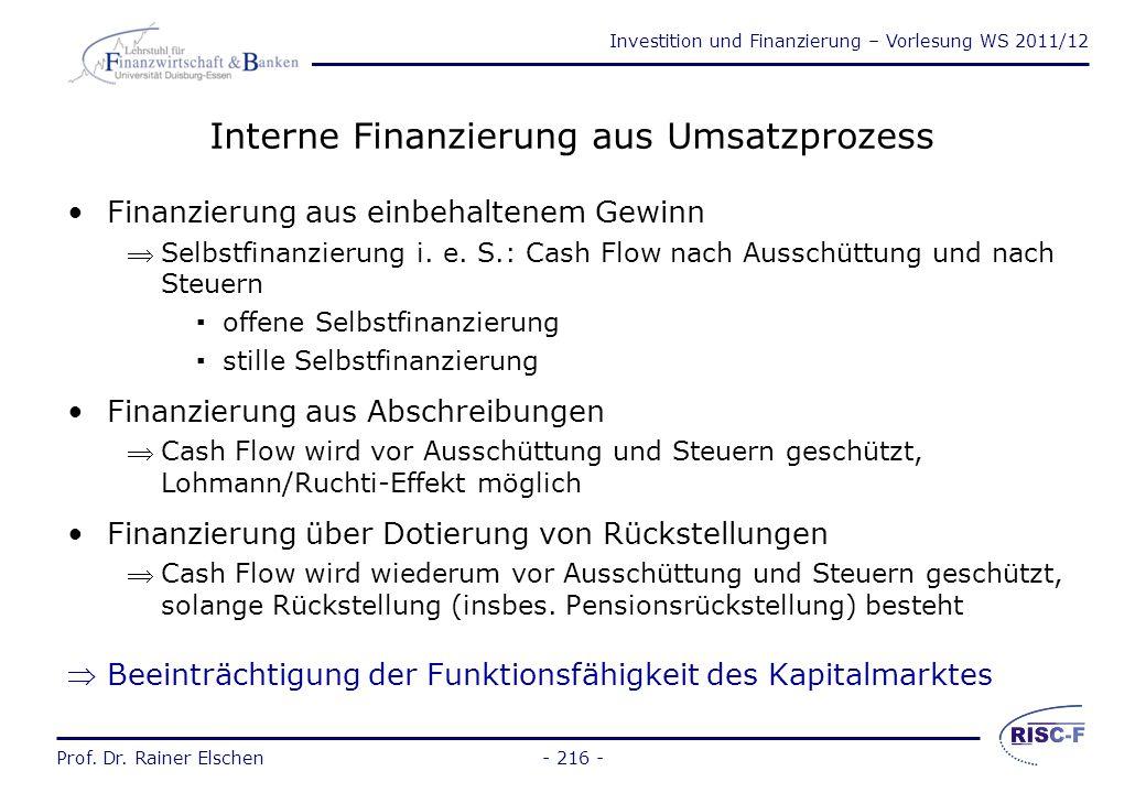 Interne Finanzierung aus Umsatzprozess