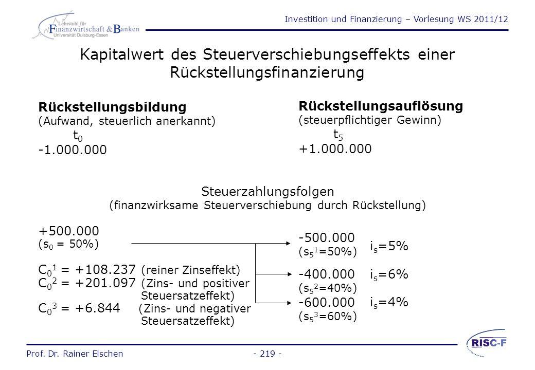 Kapitalwert des Steuerverschiebungseffekts einer Rückstellungsfinanzierung