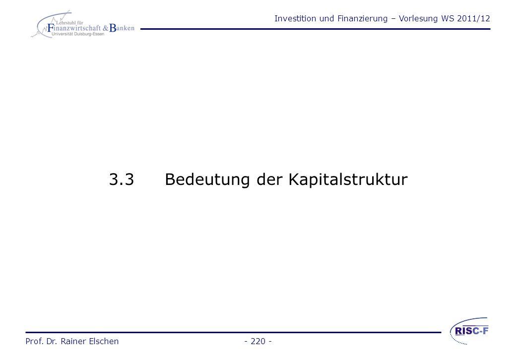 3.3 Bedeutung der Kapitalstruktur