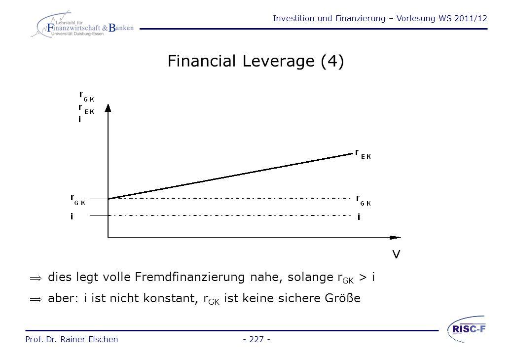 Financial Leverage (4) dies legt volle Fremdfinanzierung nahe, solange rGK > i.