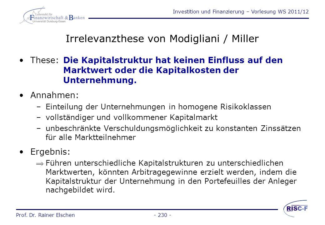 Irrelevanzthese von Modigliani / Miller