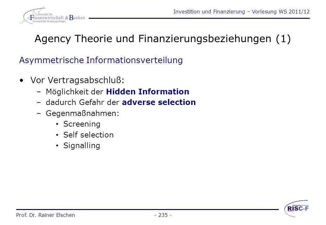 Agency Theorie und Finanzierungsbeziehungen (1)