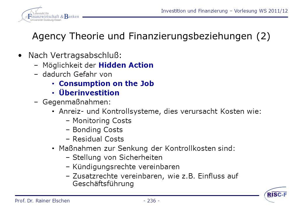 Agency Theorie und Finanzierungsbeziehungen (2)