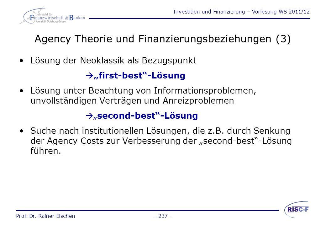 Agency Theorie und Finanzierungsbeziehungen (3)