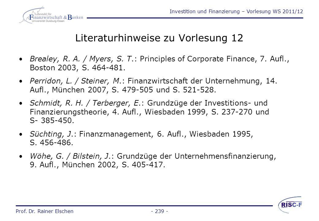 Literaturhinweise zu Vorlesung 12