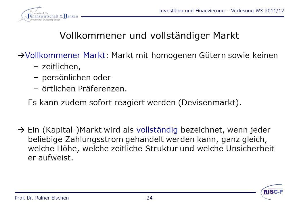 Vollkommener und vollständiger Markt