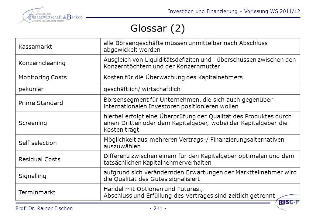 Glossar (2) Kassamarkt. alle Börsengeschäfte müssen unmittelbar nach Abschluss abgewickelt werden.