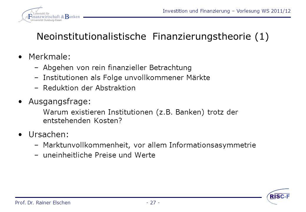 Neoinstitutionalistische Finanzierungstheorie (1)