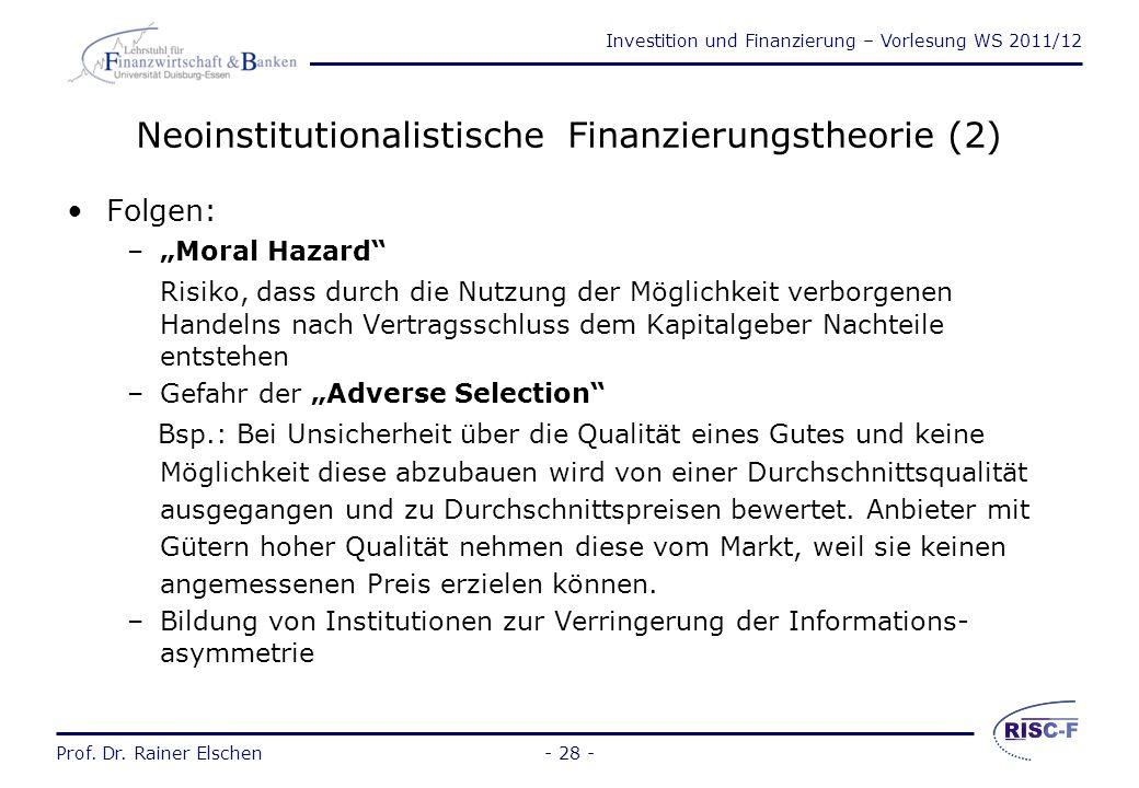 Neoinstitutionalistische Finanzierungstheorie (2)