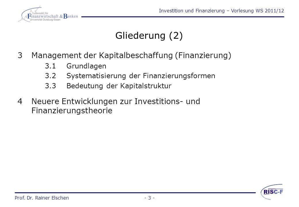 Gliederung (2) 3 Management der Kapitalbeschaffung (Finanzierung)