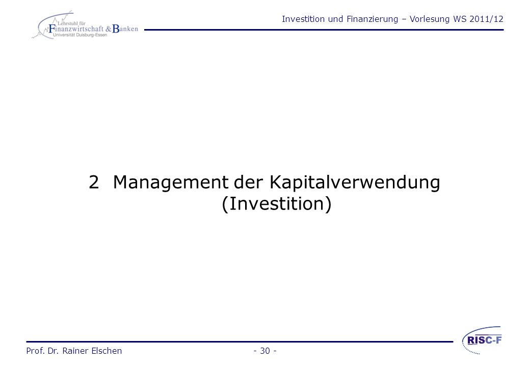 Management der Kapitalverwendung (Investition)