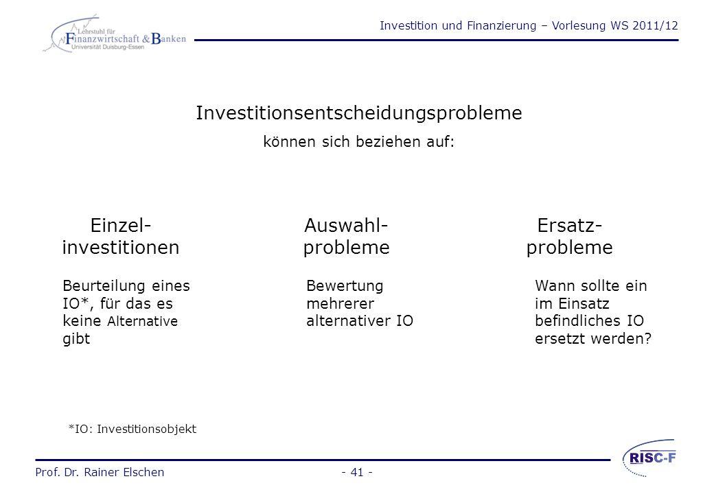 Investitionsentscheidungsprobleme