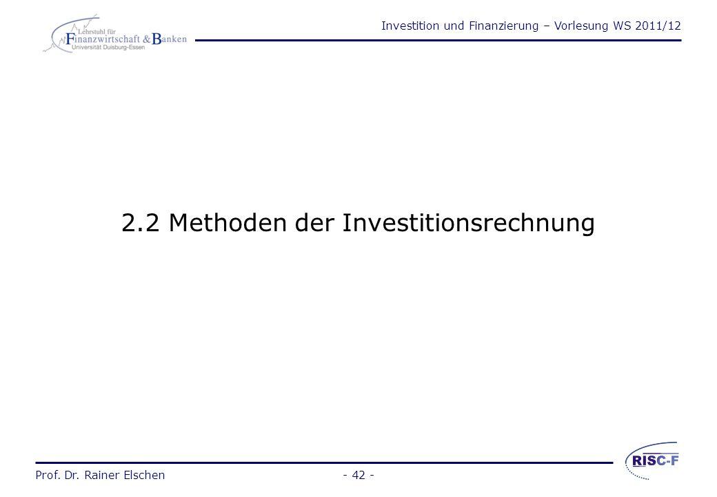 2.2 Methoden der Investitionsrechnung