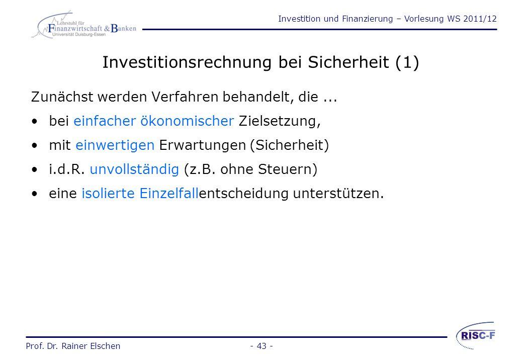 Investitionsrechnung bei Sicherheit (1)