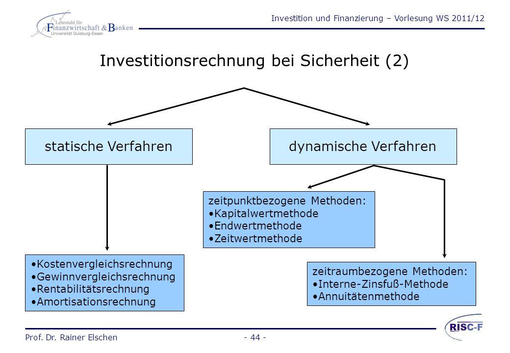 Investitionsrechnung bei Sicherheit (2)