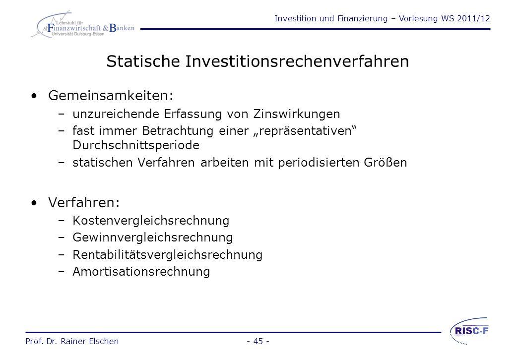 Statische Investitionsrechenverfahren