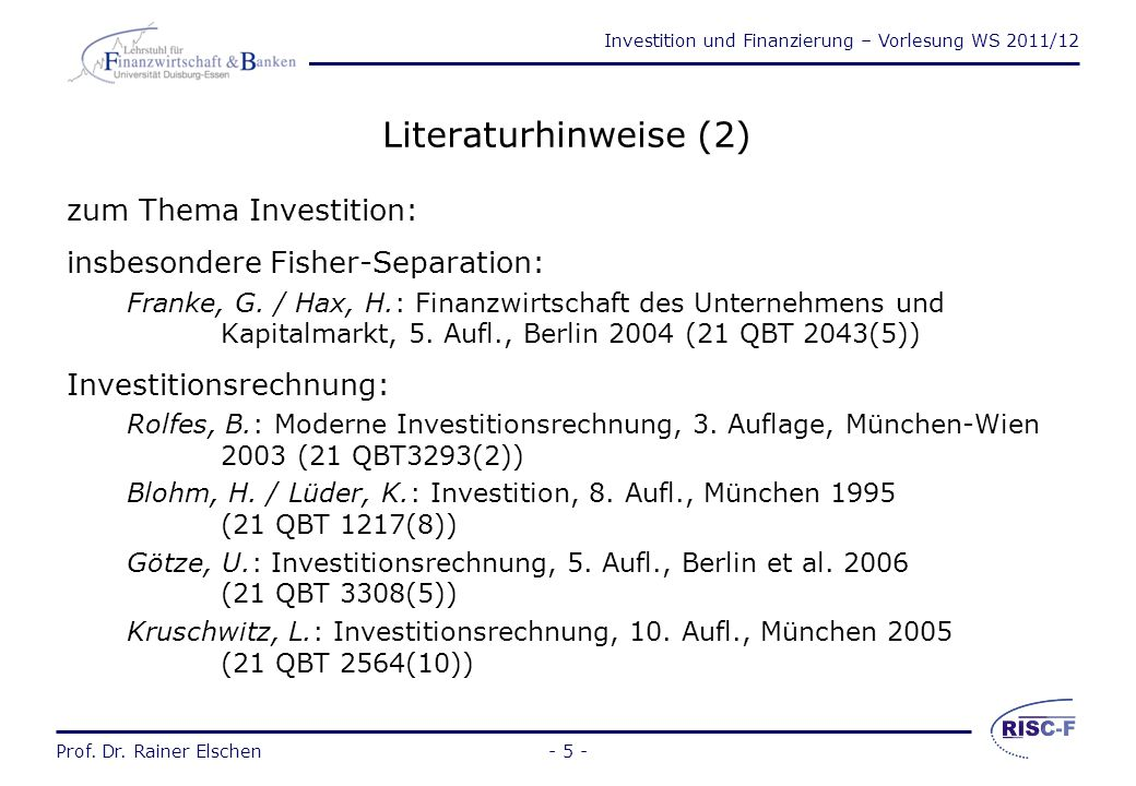 Literaturhinweise (2) zum Thema Investition: