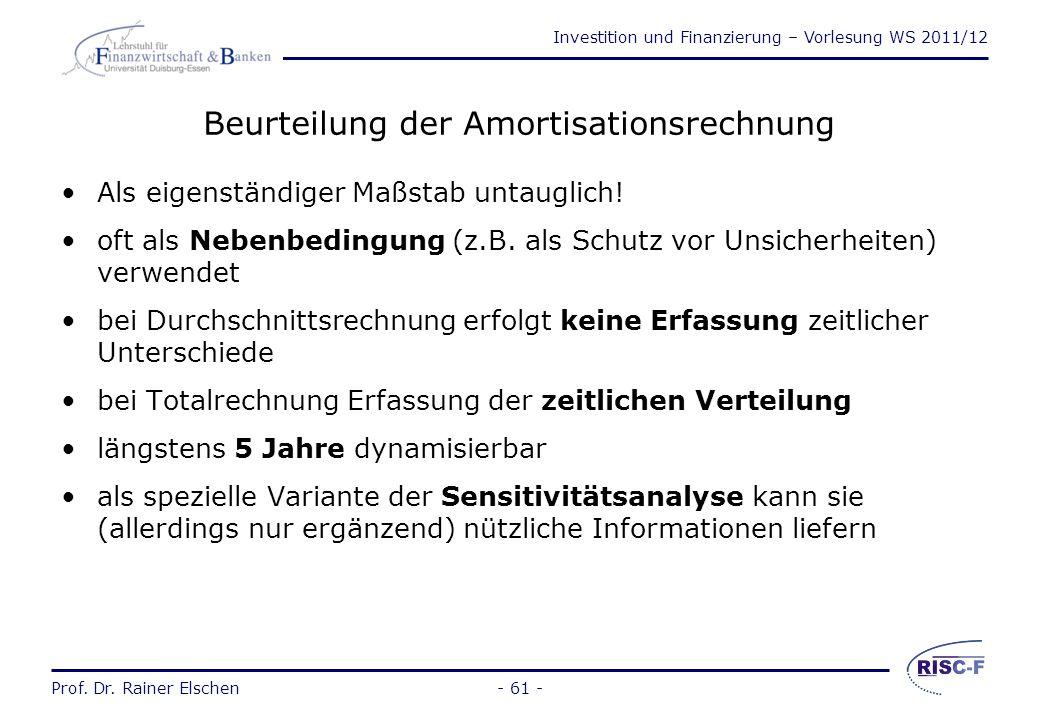 Beurteilung der Amortisationsrechnung
