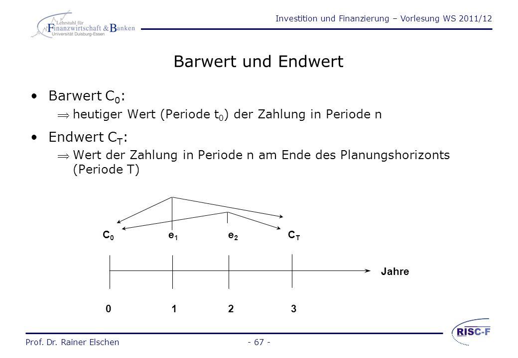 Barwert und Endwert Barwert C0: Endwert CT: